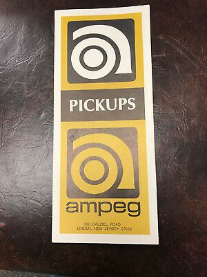Late 1960S Illustrated Ampeg Pickups Price List Amplifiers