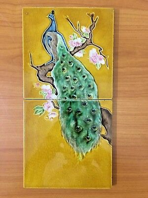 Vintage rare collectible antique art tile peacock 2pc set england