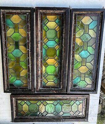 "Vintage Antique Stained Glass Windows - Lot Of 4 - 2 Sets of 2 - 14"" x 36"""