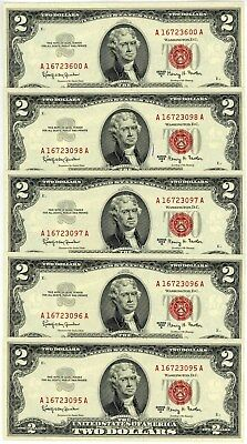 Fr. 1514 $2 1963 Two Dollar Legal Tender United States Notes 5 Notes Ch CU