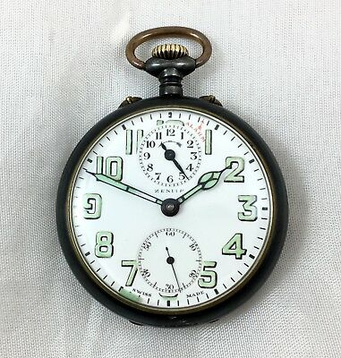 Very Rare Zenith Alarm Pocket Watch In Working Order Possibly Military