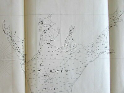 Rhode Island Bristol Mount Hope Bay Nautical Chart 1862 US Coast survey