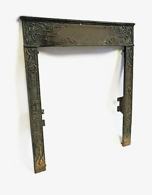 Antique Cast Iron Fireplace Insert Cover Frame Surround Ornate