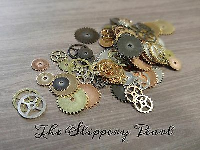 Steampunk Gears Watch Parts Clock Pieces Assorted BULK 100 pieces Silver Bronze
