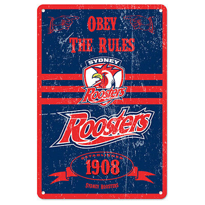 Official NRL Sydney Roosters Obey The Rules Retro Metal Sign Decoration