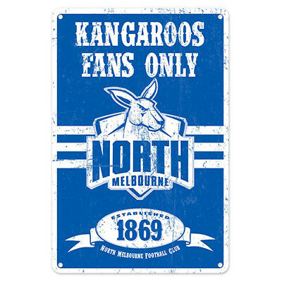 Official AFL North Melbourne Kangaroos Obey The Rules Retro Metal Sign