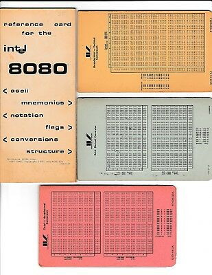 INTEL 8080 REFERENCE Card, Octal to Hex and Decimal Conversion Cards