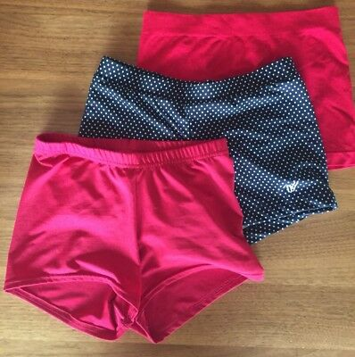 Lot of 4 DANCE GYM CHEER BOOTY SHORTS Black, Red, Black and White Polka Dot S/M