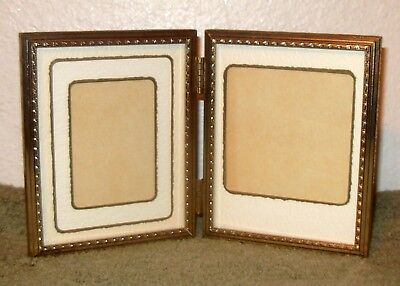 """VINTAGE Double HINGED 4x5"""" Brass/METAL Photo/PICTURE FRAME 4"""" x 5"""" w/MATS 4 smlr"""
