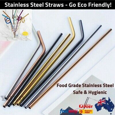4x Stainless Steel Reusable Metal Drinking Straw Straws Silver Rose Gold Rainbow