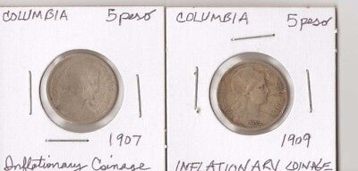 Columbia, 1907,1909, 5 Peso, Km#279,   Inflationary Issue