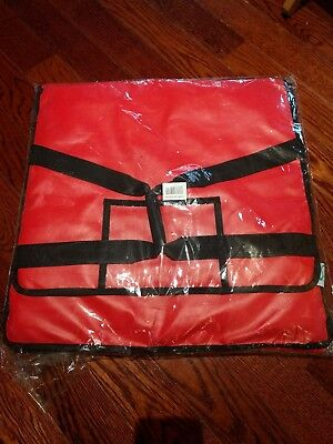 "20"" x 20"" x 12"" Red Vinyl Insulated Pizza Delivery Bag 124PIBAG5VNL"