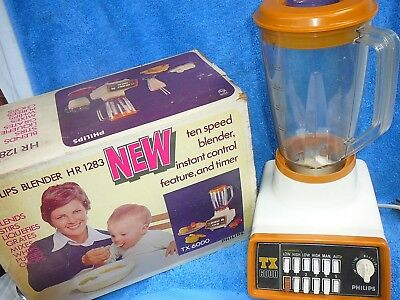 Vintage1960's Retro Phillips Kitchen food blender, with box and directions.