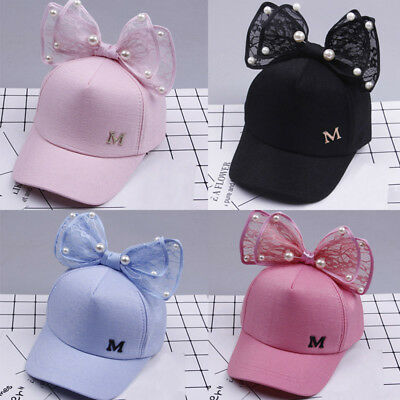 US Kids Baby Baseball Cap Girls Boys Childrens Pearl Bowknot Bongrace Summer Hat