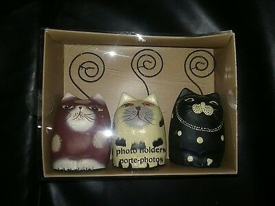 Pier One Imports Cat Photo Holders.Set of THREE.BRAND NEW in BOX! Whimsical.Cute