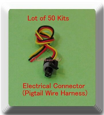 (Lot of 50) 3 Wire Electrical Connector Pigtail Wire Harness 417 Multi Purpose