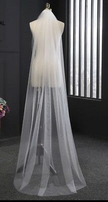 Brides Bridal Ivory Chapel Length Veil 1 Tier Soft Tulle Cut Edge With Comb