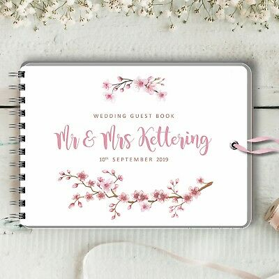 Personalised Wedding Guest Book, Cherry Blossom, Blank Message Book, Birthday