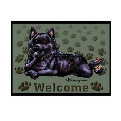 Schipperke Dog Breed Paws Cartoon Artist Welcome Doormat Floor Door Mat Rug