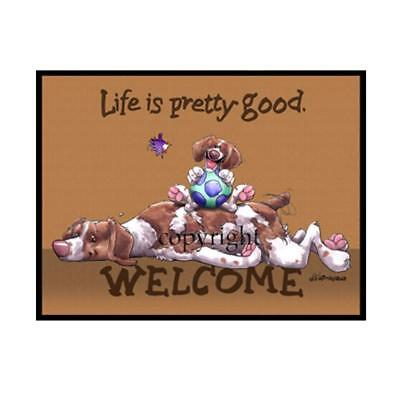 Brittany Spaniel Dog Life Is Good Cartoon Artist Doormat Floor Door Mat Rug