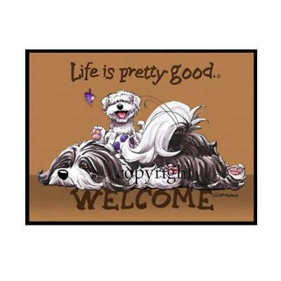 Havanese Dog Breed Life Is Good Cartoon Artist Doormat Floor Door Mat Rug