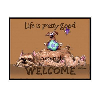Brussels Griffon Dog Life Is Good Cartoon Artist Doormat Floor Door Mat Rug