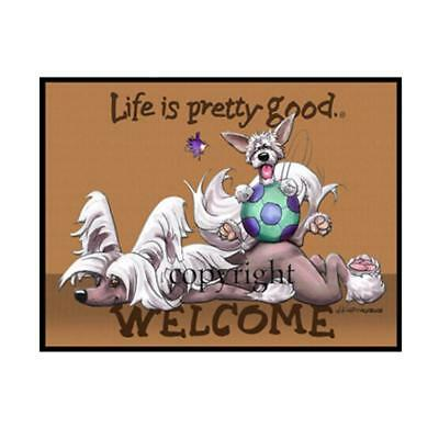 Chinese Crested Dog Breed Life Is Good Cartoon Artist Doormat Floor Door Mat Rug