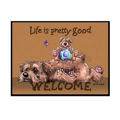 Norfolk Terrier Dog Breed Life Is Good Cartoon Artist Doormat Floor Door Mat Rug