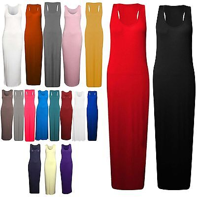 Women Ladies Racer Back Muscle Maxi Plain Jersey Long Viscose Vest Top Dress