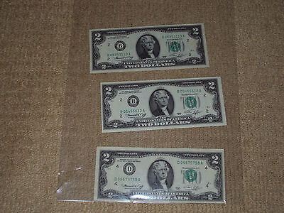 United States Of America, Three Two Dollar Bills From 1976, Very Fine