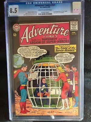 ADVENTURE COMICS #321 CGC VF+ 8.5; CM-OW; first Time Trapper!