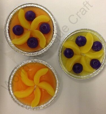 Personalised Pie Candle Making Kit: Wax,Wick,Foil Case,Dye,Scent,Wax Fruit Embed