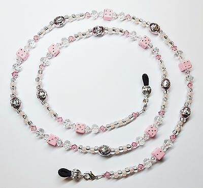 Pink & Silver Dice Austrian Crystal Eyeglass Chain Holder