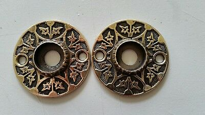 PAIR Antique Victorian SOLID Brass Door Knob Backplates  RESTORED (428C)