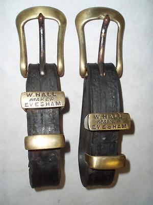 "ANTIQUE ENGLISH LEATHER BLACK HARNESS DRIVING TUGS, Maker ""HALL EVESHAM"""