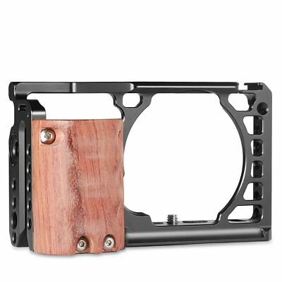 SmallRig Camera Cage with Wooden Handle Grip Providing 1/4''-20Threaded Swiss QR