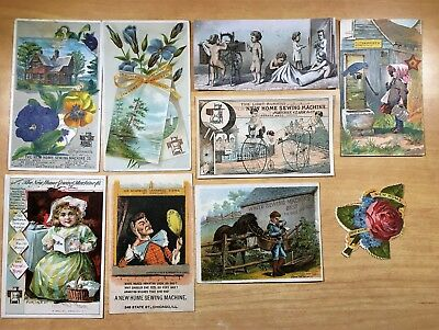 8 Victorian Advertising Trade Cards + 1 Die-Cut ALL SEWING MACHINE New Home +