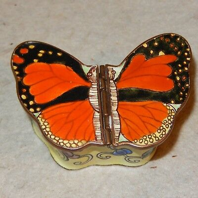 Vintage Chinese Canton Enamel BUTTERFLY Box Double Hinge Huafalang Cloisonne