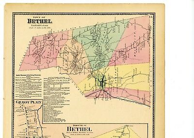 1874 Map Bethel, Connecticut, Fairfield County, from Beers Atlas w/family names