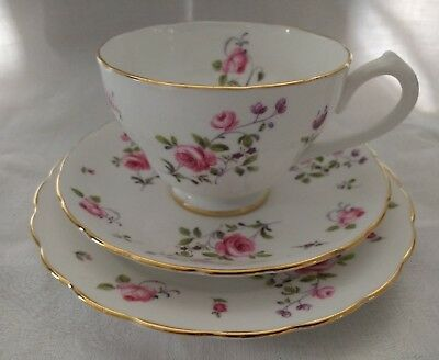 New Chelsea Vintage Tea Set Trio Pink Rose Gold Tea Cup Saucer Plate English