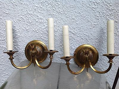 Fine MATCHED Pair ANTIQUE Brass WALL SCONCES Lamps ACORNS MOTIF 1930s