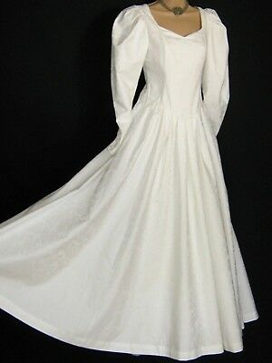 LAURA ASHLEY VINTAGE WHITE FLORAL BROCADE 80s EDWARDIAN STYLE BRIDAL GOWN,8/10