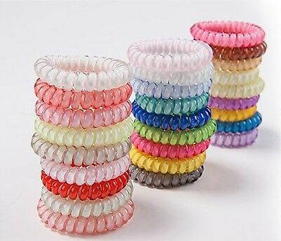 5pcs Hair Ties Gel Stretch Plastic Band Coil Spiral Phone Cord Scrunchies