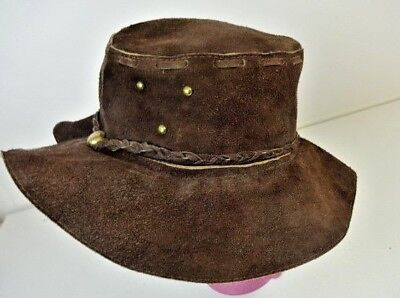 Vintage COOL Distressed Brown Leather Cowboy Hobo Hippy Boho Bucket Hat - Mexico