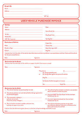 used carvehicle purchase invoice pad a4 2 part carbonless red print