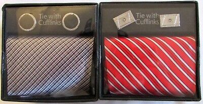 New Gift Boxed 2 X Tie & Cufflinks Sets Red Black Silver Fathers Day