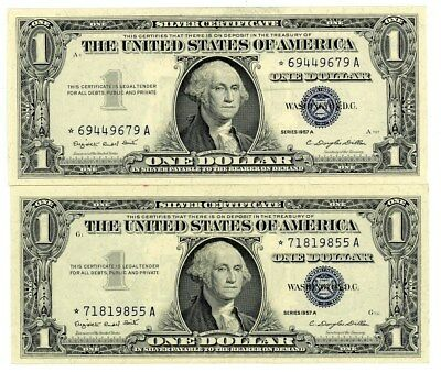 Fr. 1620* $1 1957A One Dollar Silver Certificate 2 Pieces Choice AU