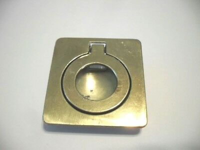 Vtg Solid BRASS RING Pull Inset Flush Mount Type Cast Square Base Keeler Brass