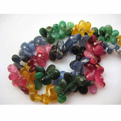 """Multi Gemstone Emerald Sapphire Beads Ruby Faceted Pear Beads 75 Pcs 7"""" Strand"""