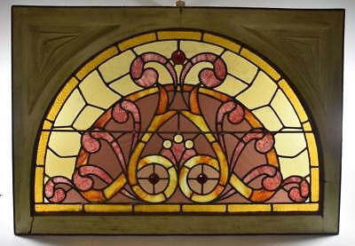 Amtique Victorian Arched Ripple Satined Glass Window With Jewels